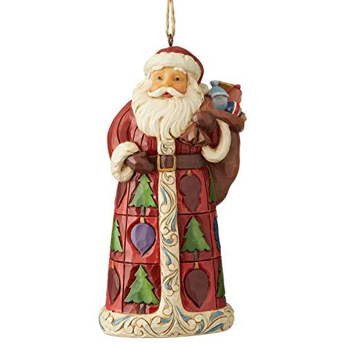 Jim Shore Heartwood Creek Sospensione Babbo Natale con Sacco di Regali, 12 cm