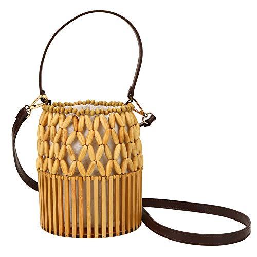 KASD Monederos y Bolsos de bambú, Bolso de bambú Ambiental Miuco para Playa para Dama para Fiesta para Mujer