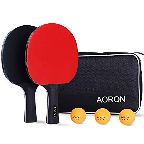 AORON Tischtennis Set • 2 Tischtennisschläger •3 Premium Bälle • Tischtennisschläger Profi Tischtennisschläger Set Sport ping Pong Set Tischtennis schläger