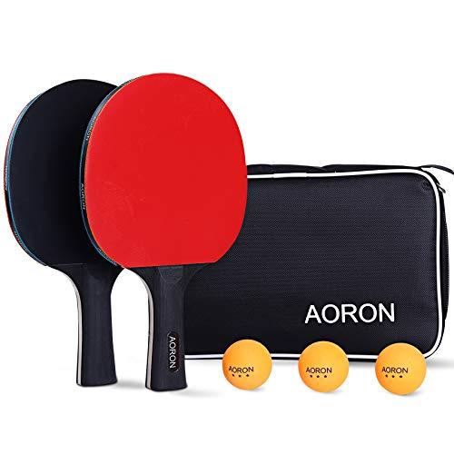 AORON ORON - Juego de tenis de mesa • 2 raquetas de ping pong + 3 pelotas Premium • Juego de raquetas de tenis de mesa con funda • Juego deportivo profesional para juegos de interior y exterior