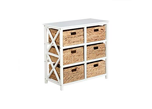 eHemco 3 Tier X-Side Storage Cabinet with 6 Baskets, White