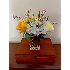 Silk Flower Arrangements Valentines day gift for her, Yellow Roses and Pansies in Pot, Silk Roses Artificial Arrangement, Mothers gift, Artificial Flowers Bouquet