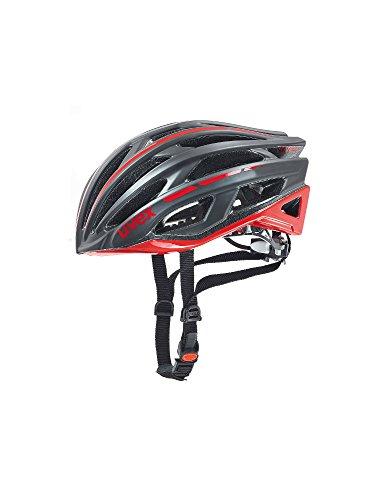 Uvex Race 5 Fahrradhelm, Black Mat-Red, 52-56 cm