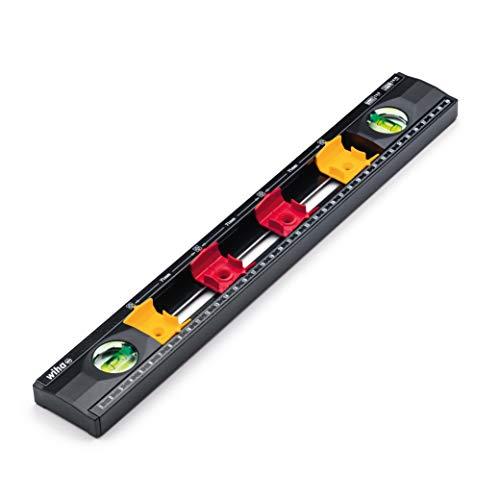 Wiha Wasserwaage Elektriker (42074), 40 cm, mit Markierungshilfen für Elektroinstallationsarbeiten, für Profis, Abstandmarkierung für Unterputzdosen, perfekte Einsicht der Libellen