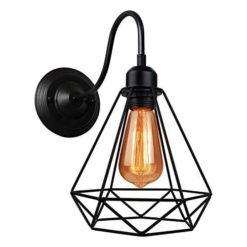 yywl Lámpara de Pared Luz de Pared LED Nordic Luz Retro Lámpara de Pared Industrial Negro E27 Vintage Wall Aplicaciones Lámpara Iluminación Industrial Luminaria Interior (Lampshade Color : A)