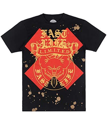 KMN Gang Fast Life T-Shirt Red Cross, Farbe:schwarz, Größe:XL