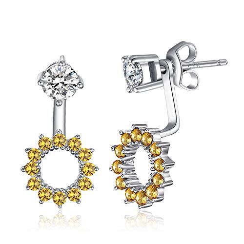 JewelryPalace Pendientes 1.65ct Zafiro amarillo Plata de ley 925