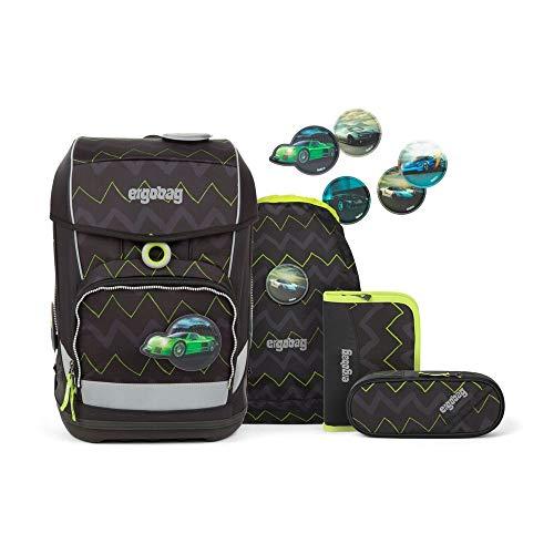ergobag cubo light Set - ergonomischer Schulrucksack, extra leicht, Set 5-teilig, 780 g - Drunter und DrüBär - Black