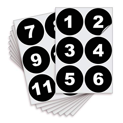Black Vinyl Consecutive Number Stickers - 1 to 50, 3 inch Self-Adhesive - Premium Decal for Indoor & Outdoor, Ideal for Inventory, Storage, Organizing, Great on Boxes, Bins, Toolbox, Lockers & More