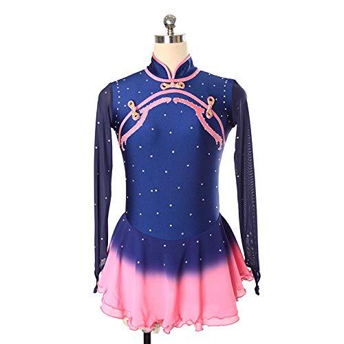 HYQW Figuur Schaatsen Praktijk Competitie Jurk Meisjes Volwassen Prestaties Competitie Rok Blauw Roze Verloop Lange Mouw Stand Kraag Rits