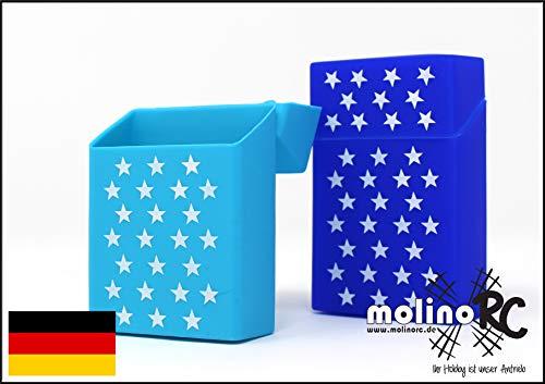2X Zigaretten-Box aus Silikon   Sterne dunkelblau und hellblau   Zigarettenhülle - Zigarettenetui   passend für eine Zigarettenschachtel in Standardgröße 20 21   auch für die neuen 21er Schachteln
