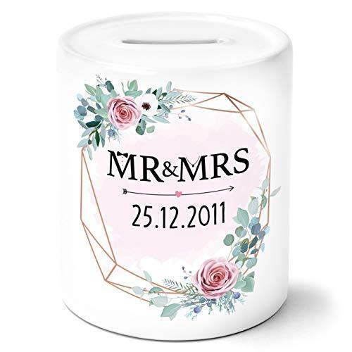 OWLBOOK Mr & Mrs Blumen rosa mit Datum personalisiert Spardose Geldgeschenke Geschenkideen für das...