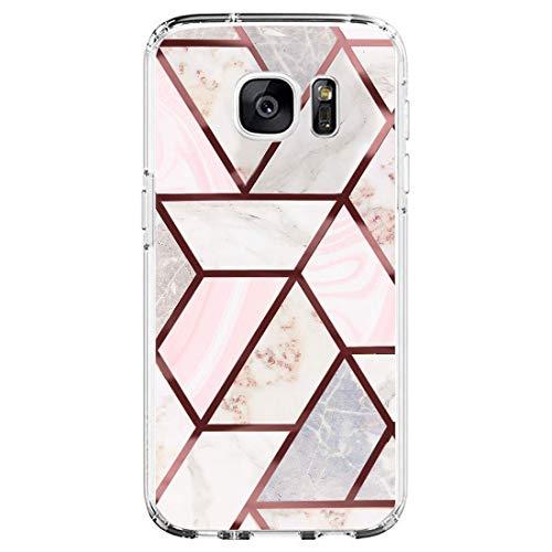 18eay Funda de mármol compatible con Samsung Galaxy S7, funda transparente de silicona TPU suave, funda para teléfono móvil con diseño geométrico de flores, antigolpes para Samsung Galaxy S7