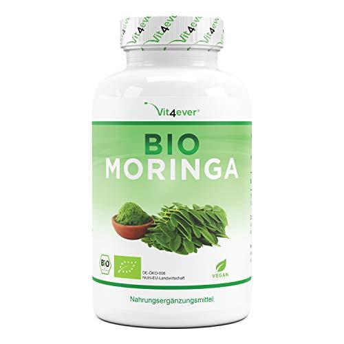 Moringa Orgánica - 300 cápsulas con 600 mg - 100% BIO Moringa Oleifera - Superalimento especialmente rico en proteínas, aminoácidos, vitaminas, minerales y omega 3 - Vegano