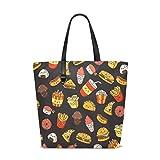 Bolsos de las mujeres de dibujos animados Burger Hotdog bolsa de hombro de tela de poliéster
