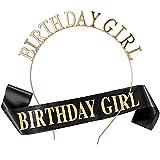 Feliz cumpleaños Faja Banda de satén cumpleaños Sash y Birthday Girl Diadema Tiara para niña Mujer 18 Años cumpleaños Fiesta de Decoración Accesorios Regalo