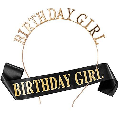 REYOK Schwarz Birthday Girl Geburtstag Schärpe Krone Haarreif Tiara Stirnband für Geburtstag mädchen Party Deko Accessoires Geschenk