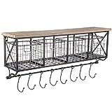Black Metal & Wood Shelf with Baskets, Chalkboards & 8-Hooks coffee bar shelf bathroom organizational shelf