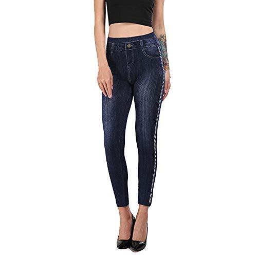 QPXZ Sin Costura Leggins Mujer Moda para Mujer Leggings Señoras Jeans Estampados Pantalones Hip Lift Overshoot Y Slim Pantalones De Nueve Minutos Ropa -B_S