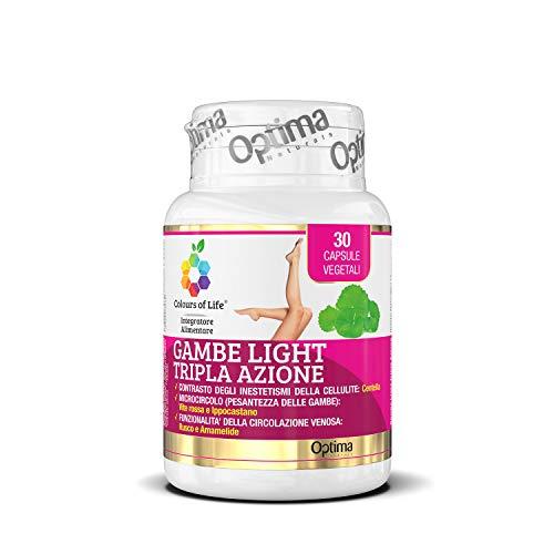 Colours of Life Gambe Light Tripla Azione - Integratore Di Vite Rossa, Centella, Rusco, Ippocastano E Amamelide - 30 Capsule Vegetali