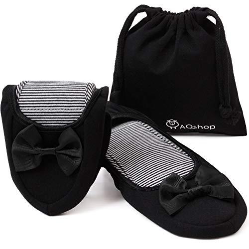 AQ Shop(エーキューショップ)AQshop 改善版 携帯スリッパ レディース 折りたたみ リボン付き 持ち運び用収納袋付き 黒 22.5〜25cm 大小2サイズ (大)ブラック24.0~25.0 cm B