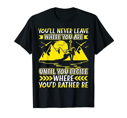 Nunca dejarás donde estás Citas de yoga SUP Camiseta