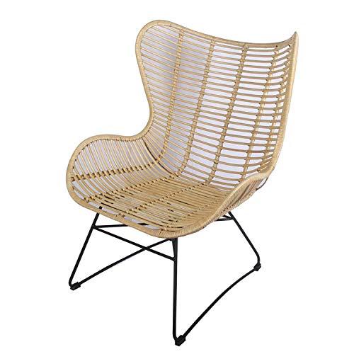 Casa Moro XXL breiter Rattan-Sessel Monia aus Naturrattan 77x77x101 cm (B/T/H) | Premium Qualität Ohrensessel moderner Relaxsessel | Retro-Stuhl für Küche Garten Terrasse Esszimmer | INS54