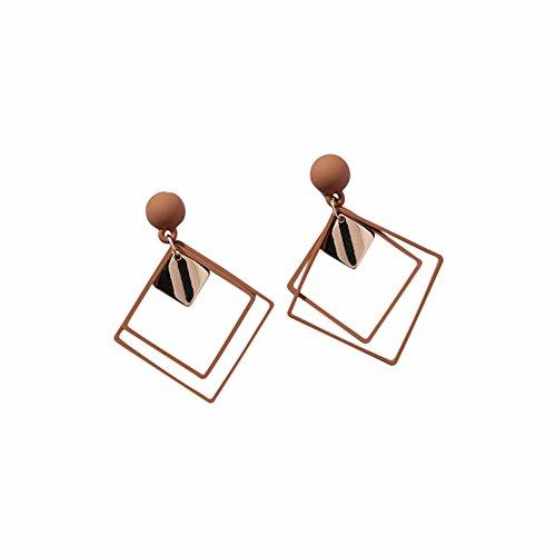Qinlee Platz Ohrhänger Geometrische Länge Stil Ohrringe Übertrieben Ohrschmuck Hochzeiten Bankette Party Mode Geschenke für Damen Mädchen (Braun)