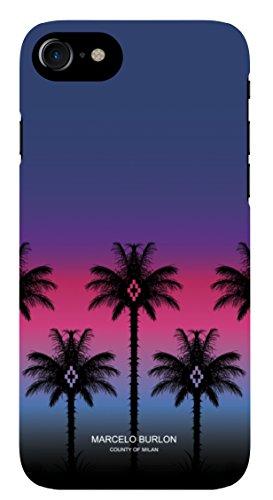 MARCELO BURLON COUNTY OF MILAN Cover/Custodia Compatibile con iPhone 8/7/6s/6 - MOD. PinkPalm - Custodia Burlon Originale - Rigida - Finitura Soft Touch - Protezione Frontale rialzata