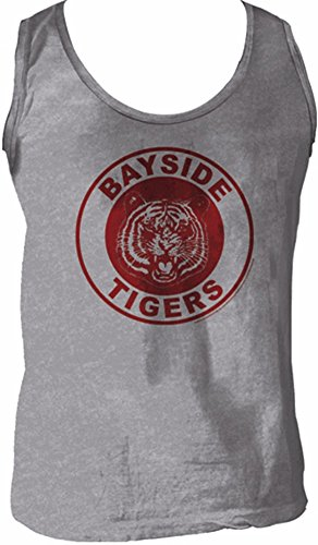 Saved By The Bell Bayside Tigers Logo Heather Gray Men's Tank Top
