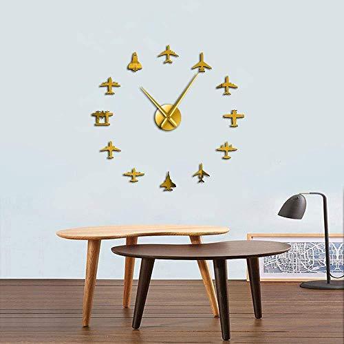 Wandklok, voor knutselen, wanddecoratie, vliegtuig, pilotenklok, modern, kwarts, geruisloos, 3D-spiegeleffect, knutselen, muurkunst, modern design, vliegtuig, jachtvlug, 37 inch, goudkleurig