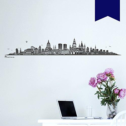 WANDKINGS Wandtattoo Skyline Mainz (mit Sehenswürdigkeiten und Wahrzeichen der Stadt) 160 x 27 cm dunkelblau - erhältlich in 33 Farben
