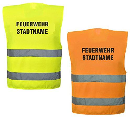 Warnweste mit Text - Feuerwehr + Stadtname - bedruckt Rückendruck Sicherheitsweste EN ISO 20471 (Orange)