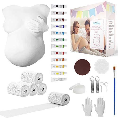 Hipsty Gipsabdruck Babybauch Set mit (23m) Gipsbinden, 12 Acrylfarben & vielem mehr | Der Bauchabdruck erinnert dich noch lange an deine Schwangerschaft | Komplettset Babybauch Gipsabdruck Set
