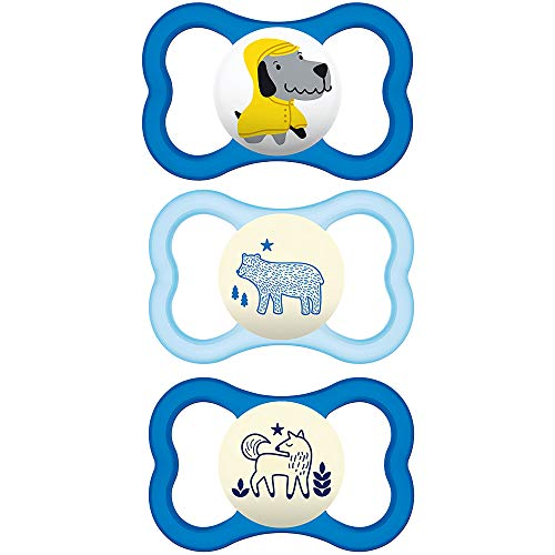 MAM Air Night amp Day Pacifiers 1 Day amp 2 Night Pacifiers MAM Sensitive Skin Pacifier 16 Months Glow in The Dark Pacifier Best Pacifier for Breastfed Babies for Boys