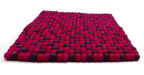 feelz - Filz Sitzkissen aus Filzkugeln beere lila pink aubergine 35x35 cm quadratisch Filzkissen Stuhlkissen Sitzauflage - Fairtrade