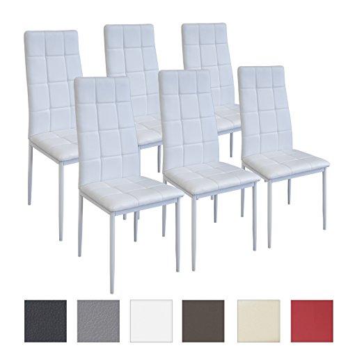 Albatros Silla Rimini, Set de 6 sillas, Blanco, certificada por la SGS, Silla de Comedor