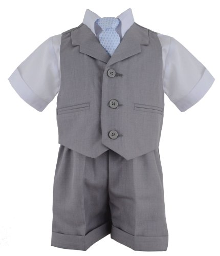 Gino Giovanni G240 Silver Baby Toddler Boy Summer Suit Vest Short Set (2T, Silver)