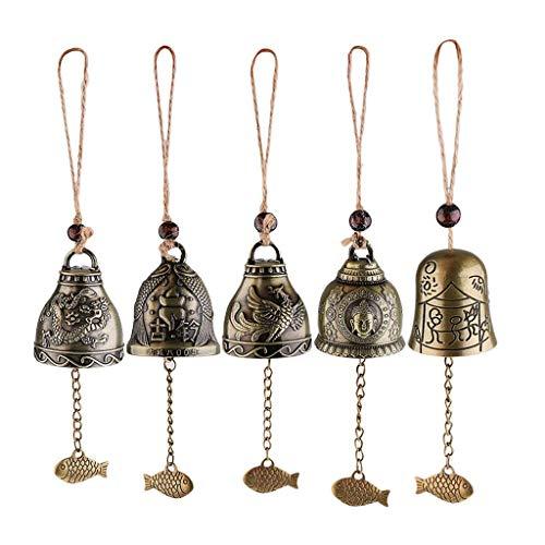 Backbayia 5 Stück Chinesische Antike Windspiele mit Feng Shui Symbolik für Haus/Garten / Auto Dekoration