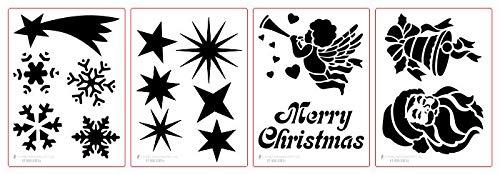 Schablone Weihnachten Set Sternschnuppe, Sterne, Schneeflocken, Engel, Glocke, Weihnachtsmann, Fensterschablone, Dekoschablone, je Set 4 Schablonen, Schablonengröße 19,0 x 14 cm, Motive anpassbar