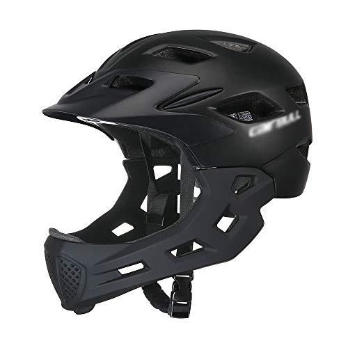 SJAPEX Fahrrad Kinderhelm Integralhelm Downhill Kinder Jugendliche Helm Skaterhelm MTB BMX mit Abnehmbarem Kinnschutz Integriert EPS/PC Stoßfest Anti-Schweiß, (CE-Zertifiziert, 50-57CM)