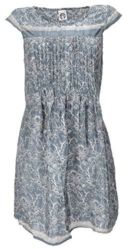 Guru-Shop Minikleid Boho Style, Schlichtes Sommerkleid, Damen, Paisley Taubenblau, Synthetisch, Size:M (38), Kurze Kleider Alternative Bekleidung