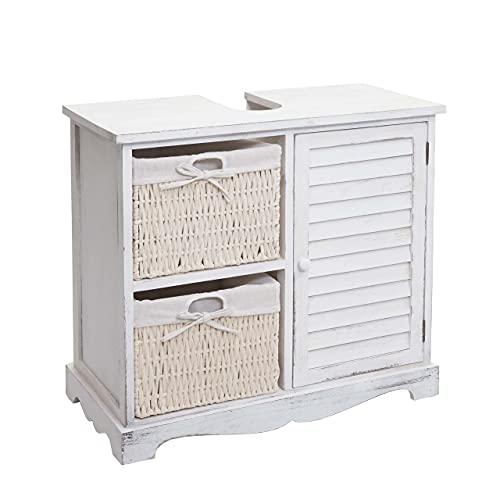 Mendler Waschbeckenunterschrank HWC-H20, Badezimmer Waschtischunterschrank, Massiv-Holz Korb-Schublade 60x65x31cm - Shabby weiß