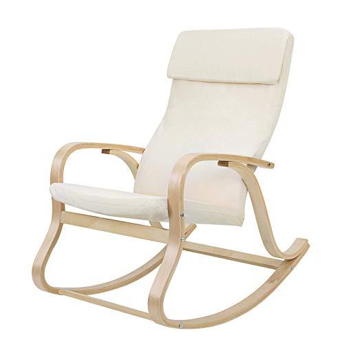 SONGMICS Sessel schwingsessel Schaukelstuhl Relaxstuhl beige LYY30M, 65 x 90 x 98 cm