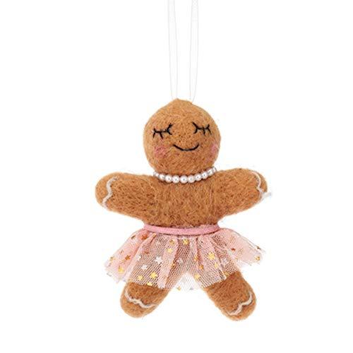 ecosoul Sass&Belle - Adorno para árbol de Navidad, diseño de pan de jengibre (fieltro), color marrón y rosa