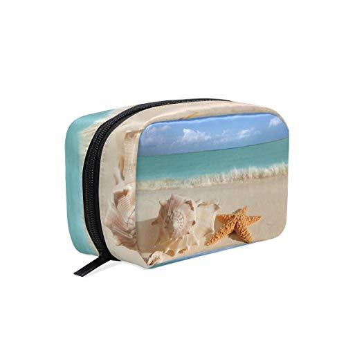 Trousse de maquillage Tropical Sea Beach Sand Shells Étoile de mer Pochette cosmétique Pochette