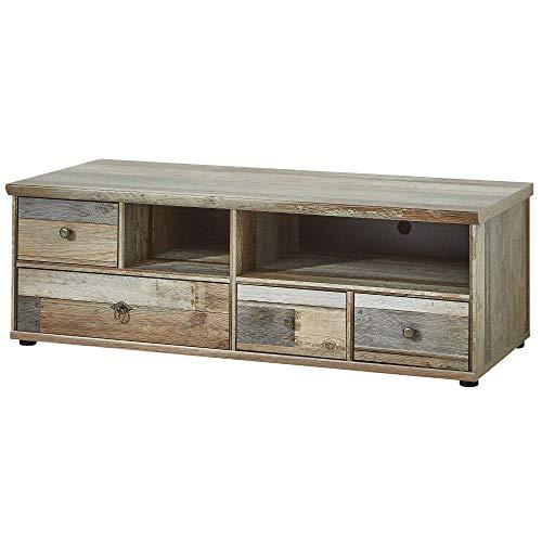 Bonanza Vintage TV-Board in Driftwood Optik - ausdrucksstarkes Retro Low-Board für Ihr Wohnzimmer - 130 x 43 x 52 cm (B/H/T)