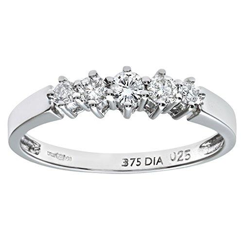 Naava Women's 9 ct White Gold 0.25 ct Diamond Graduated Eternity Ring, White Gold, K