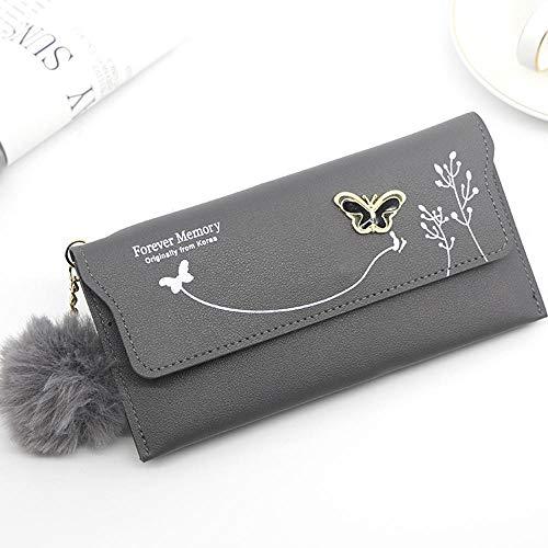 Wallet Ladies Cute Bowknot Women Long Wallet Pure Color Clutch Bag 2021 PU Leather Purse Phone Card Holder Bag-D-4