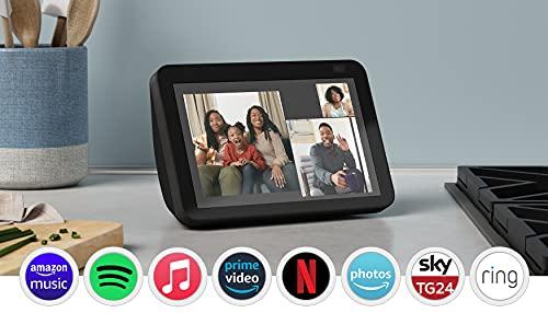 Nuovo Echo Show 8 (2ª generazione, modello 2021) | Schermo intelligente HD con Alexa e telecamera da 13 MP | Antracite